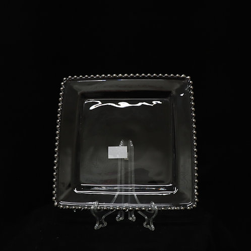 Silver Sq. Beaded Glass Charger Plate