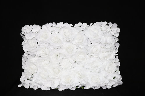 White Fabric Rose & Hydrangea panel
