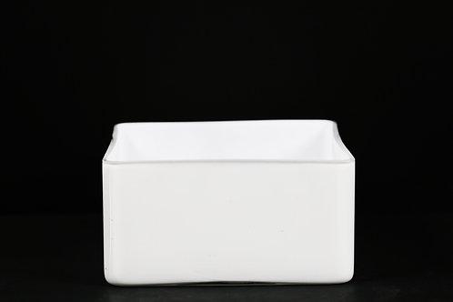 "8x4"" White Short Glass Vase"