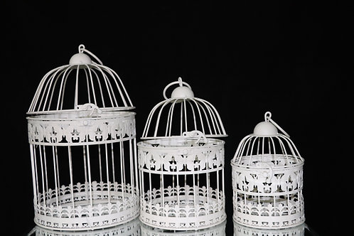 White Metal Bird Cage 3pc/Set
