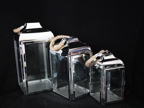 Silver Metal Lantern 3pc/Set