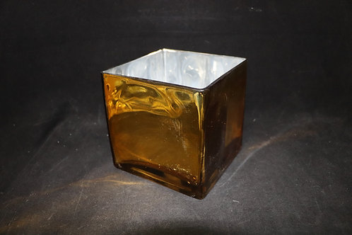 "6x6"" Gold Square Glass vase"