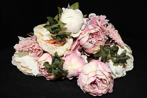 Cream-Pink  Peony Silk Flowers Bouquet