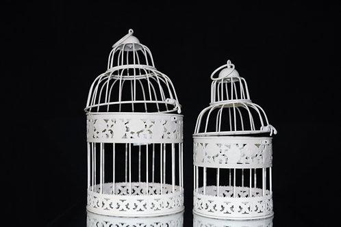 White Metal Bird Cage 2pc/set