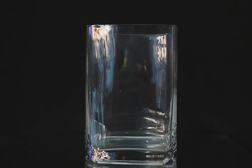 "5.5x8"" Tall Square glass vase"