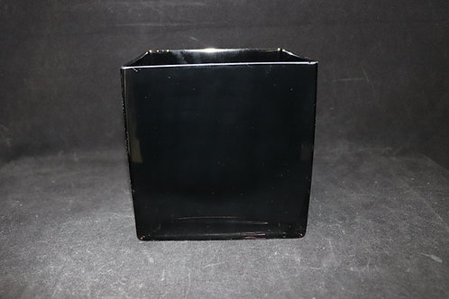 """6x6"""" Black Square Glass Vase"""