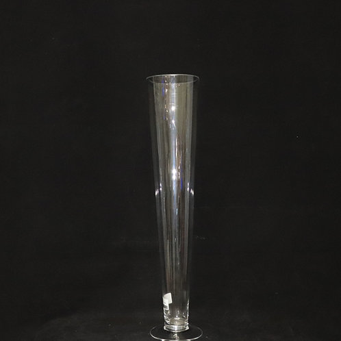 "20"" Clear Glass Trumpet-Cone Vase"