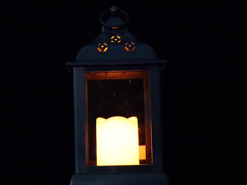 Lantern with LED Pillar Candle HT910