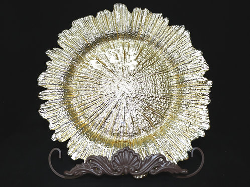 """Glass Gold Reef Charger Plate 13"""""""