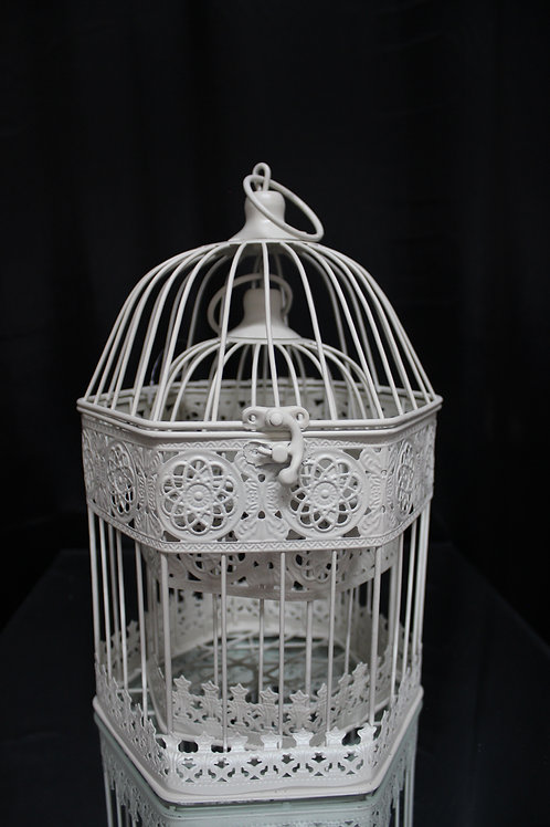 Cream Metal Bird Cage 2pc/set