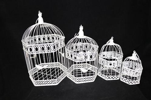 White Metal Bird Cage 4pc/set