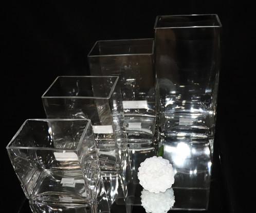Tall Square Glass Vase