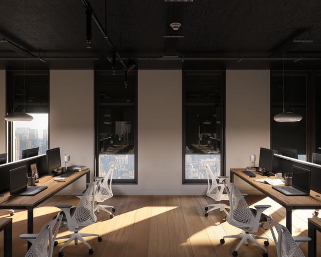 Open space office. Serge Ferrari textile Soltis Opaque