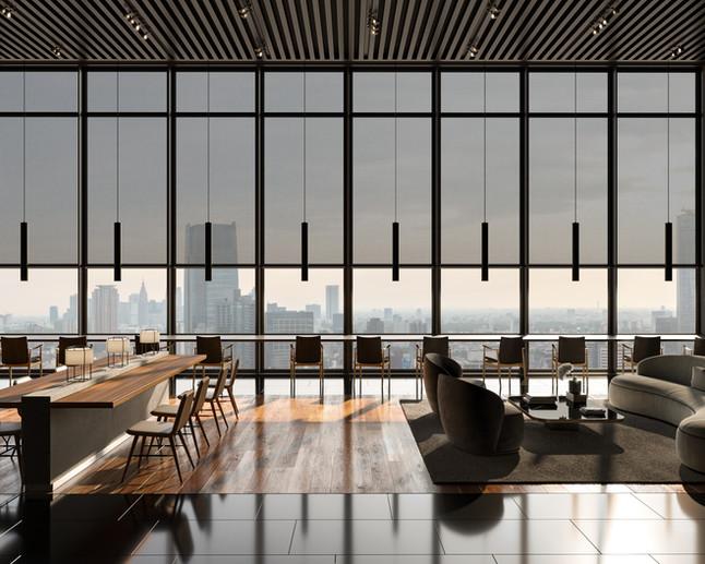Restaurant interior. Serge Ferrari textile Soltis 86