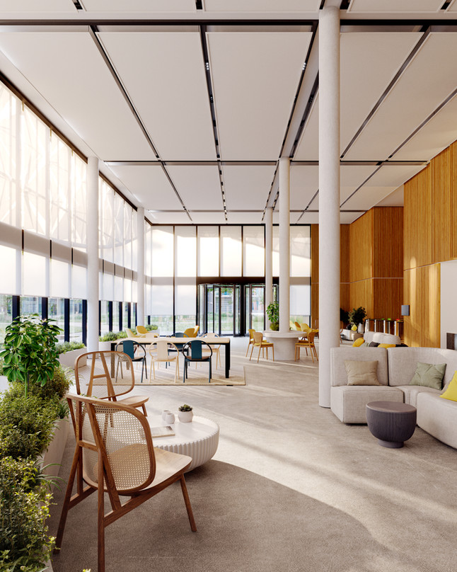 Hall of the office building. Serge Ferrari textile Soltis Touch