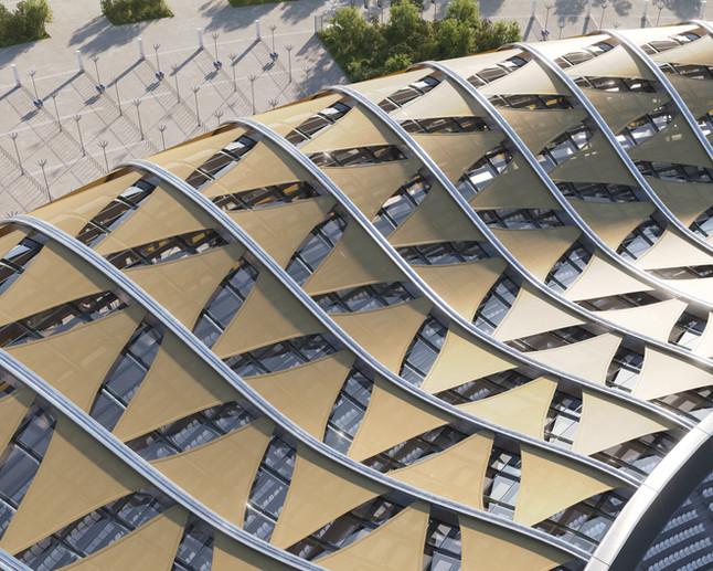 Stadium roof. Serge Ferrari textile Soltis 92