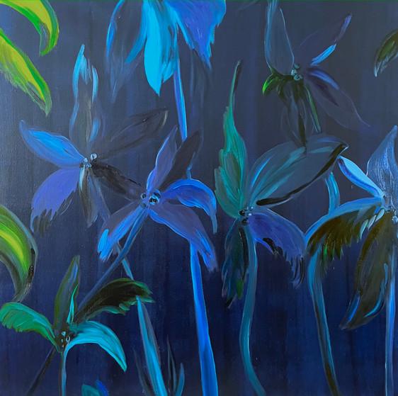 Chloë Manasseh, Strange Flower, 2021, Oil on Linen, 140 x140 cm.