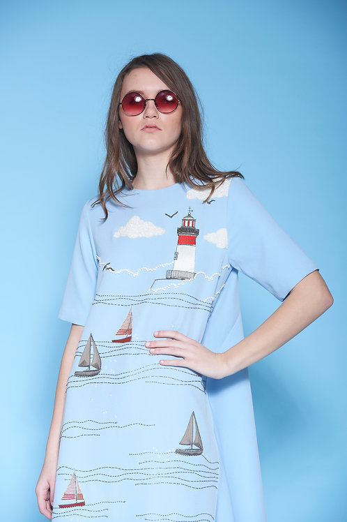LIGHTHOUSE, BOAT AND WAVES SHIFTED SEAM HI-LOW MIDI DRESS