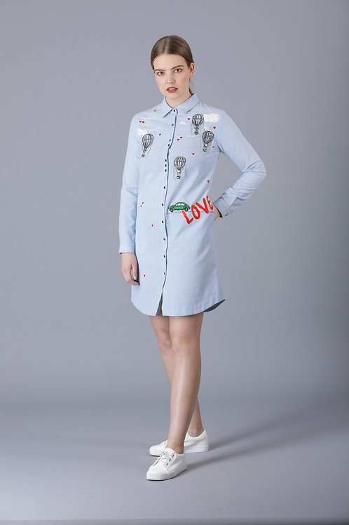 AIRBALLOONS IN CLOUDS SHIRT DRESS