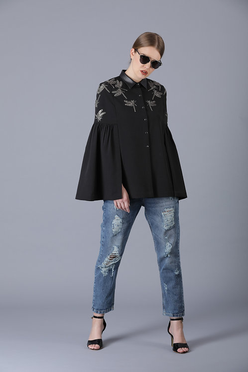 HALF DRAGONFLY FRILL SLEEVES CAPE