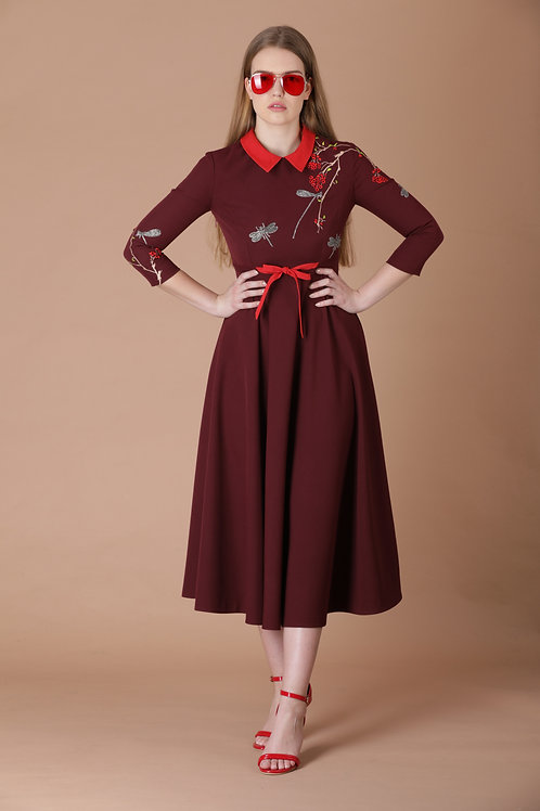 BERRIES AND DRAGONFLY CIRCULAR MIDI DRESS WITH BOW