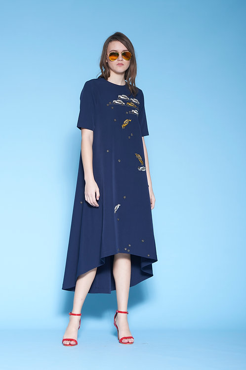 DINKY CAR SHIFTED SEAM HI-LOW MIDI DRESS