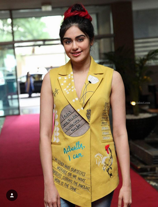 Actor Adah Sharma Embroidered Tailored Sleevless Vest From Not Yet Launched AW-17/18 Collection