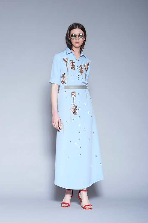 ONE WAY LONG SHIRT DRESS WITH LEATHER BELT