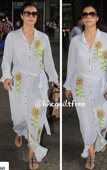 Actor Kajol Devgun Spotted Wearing Our Sunflower Maxi Dress #smss17 #shahinmannan