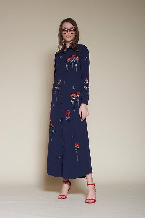 ABSTRACT ROSES LONG SHIRT DRESS