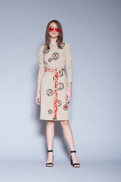 STAMP MIDI DRESS WITH BUCKLE BELT