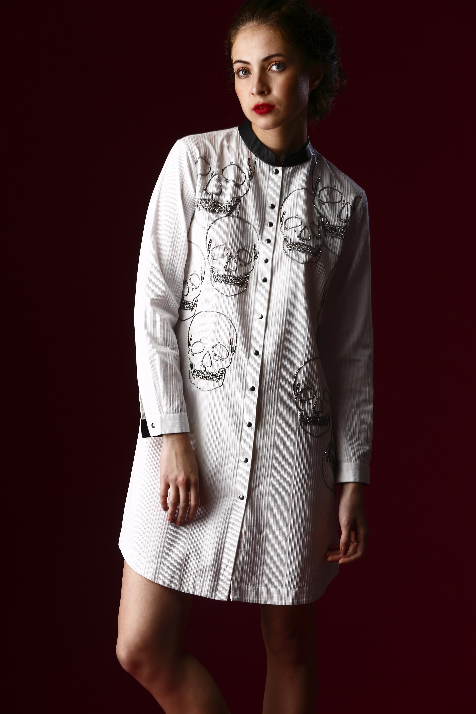 Skull Outline Monocrome Shirt Dress