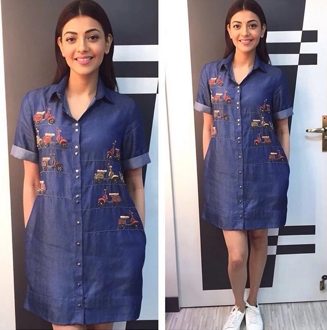 Kajal Aggarwal Looks Immaculate In Our 'Scooter Parked Shirt Dress' Featured on The Kapil Sh