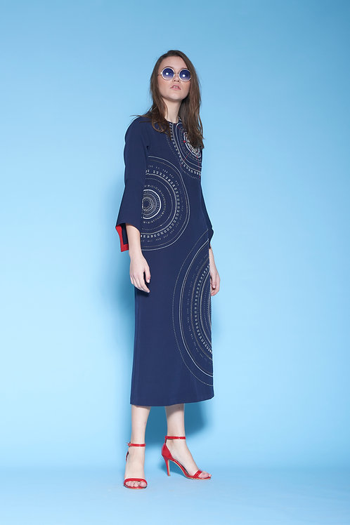 COMPASS MIDI DRESS WITH FRILL SLEEVES