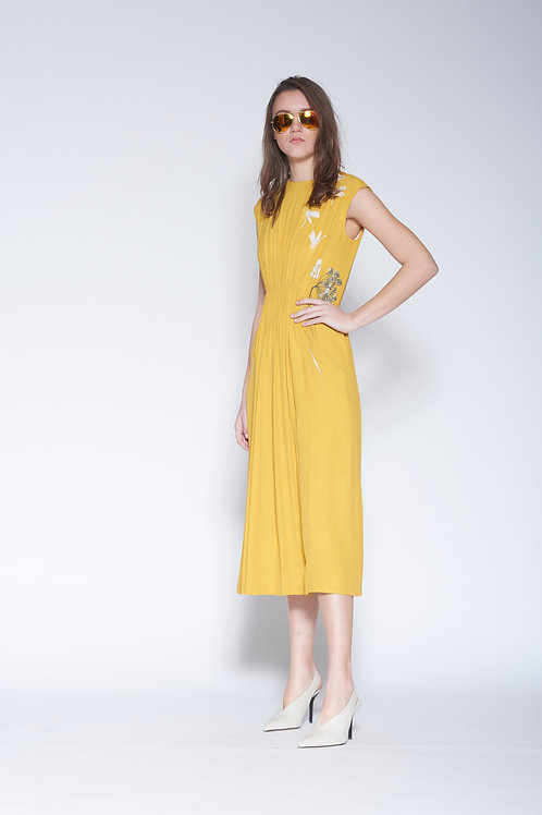 WILDFLOWER AND DRAGONFLIES FRONT GATHER MIDI DRESS