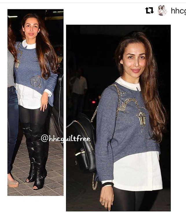 Actor MalaikaArora In 'Lamppost And Bicycle' Shirt Attached Sweatshirt