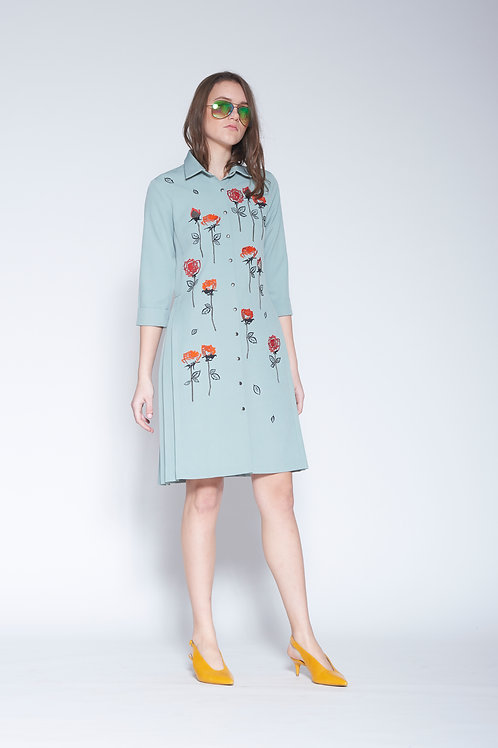 ABSTRACT ROSES SIDE PLEATED SHIRT DRESS