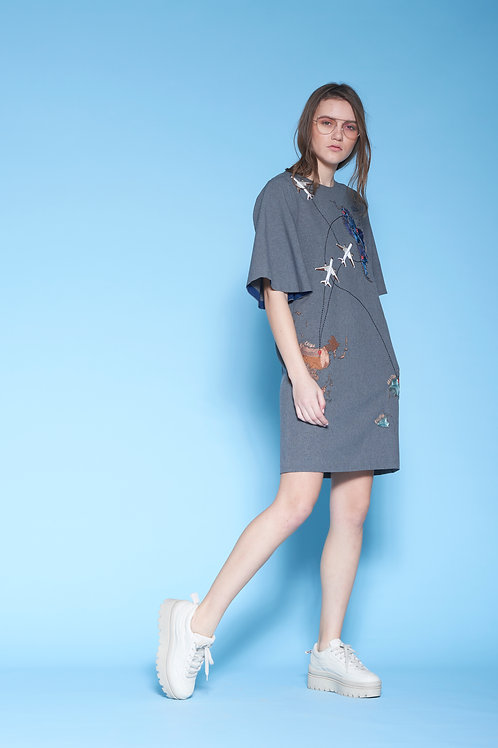 MAP MINI DRESS WITH FLARED SLEEVES