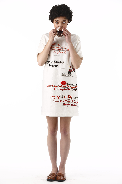 Dear Diary Mini Dress In Ivory