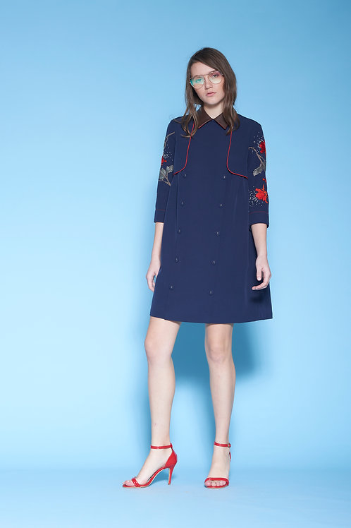 ROSES TRENCH GATHER DRESS