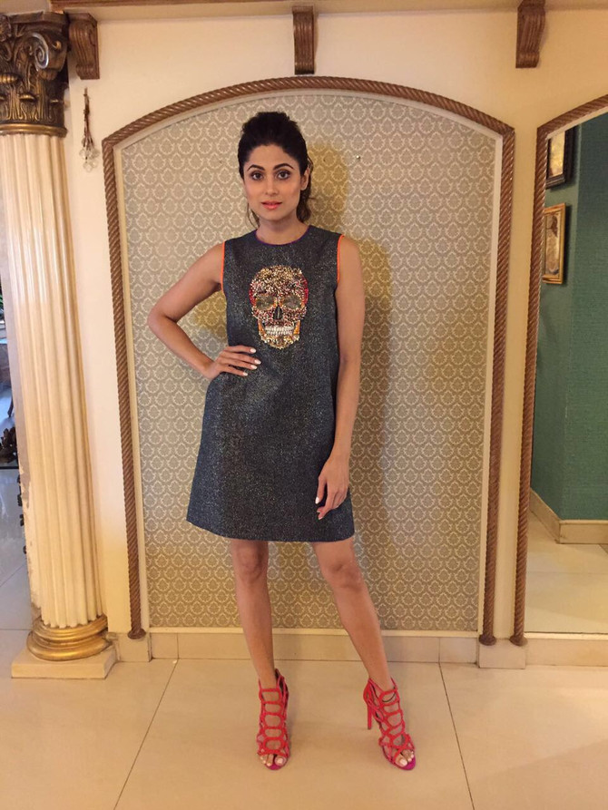 Actress Shamita Shetty Wearing Our Hand Embroidered Skull Shimmer Mini Dress #shahinmannan