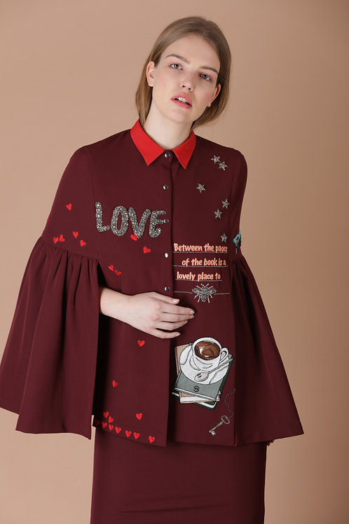 LOVE TO READ FRILL SLEEVES SUMMER CAPE