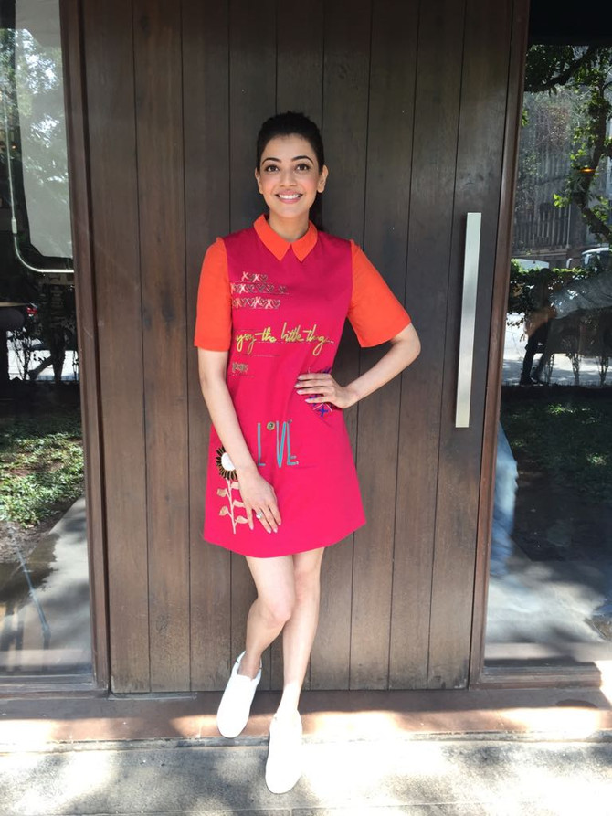 "Actor Kajal Aggarwal @kajalaggarwalofficial looks pretty wearing our ""tic tac toe"" mini dr"