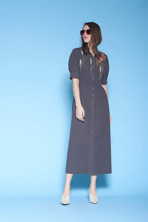 ONE WAY SIDE PLEAT FRONT OPEN DRESS