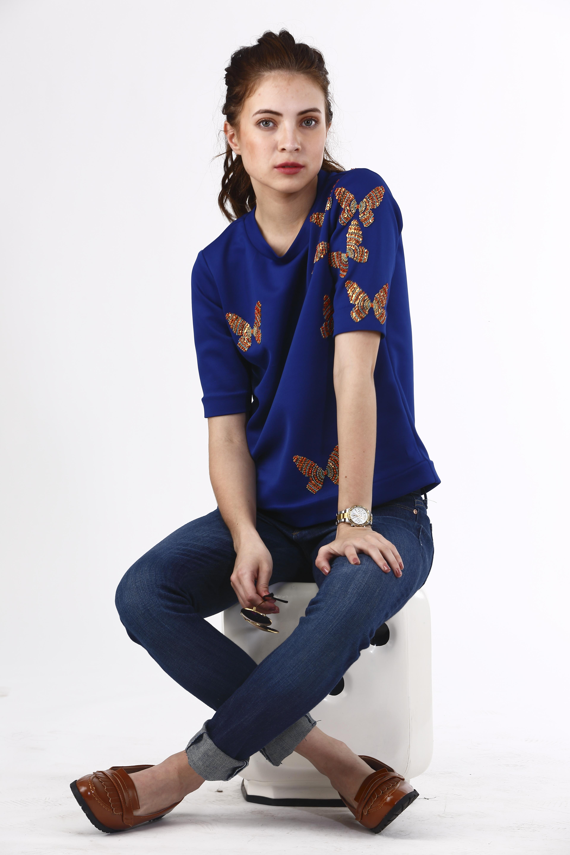 Dotted Butterflies Neoprene T-shirt