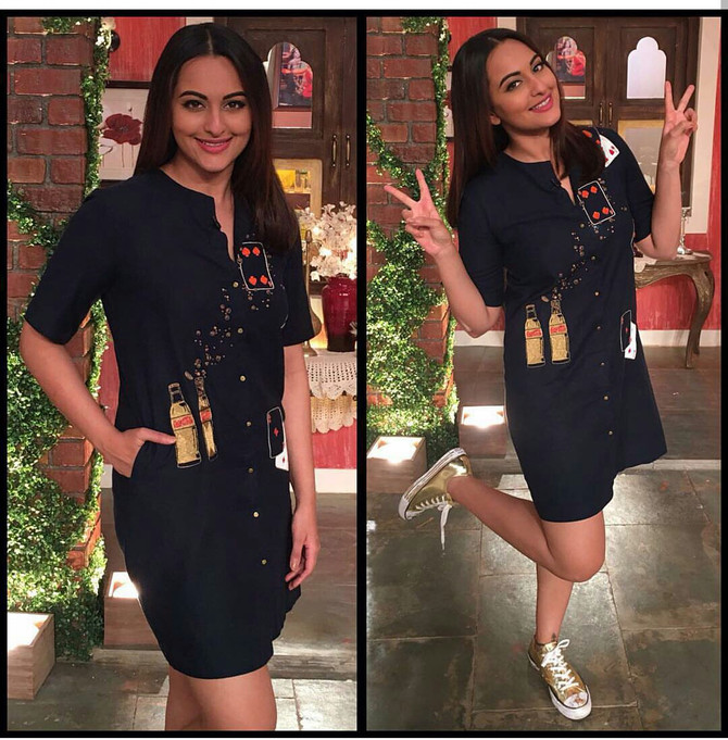 Sonakshi Sinha In Coca Cola And Playing cards Shirt Dress