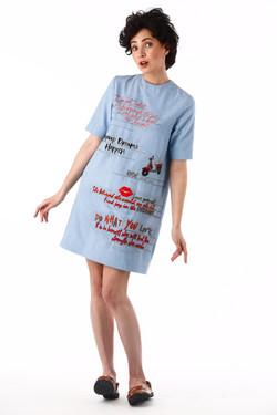 Dear Diary Mini Dress In Light Blue