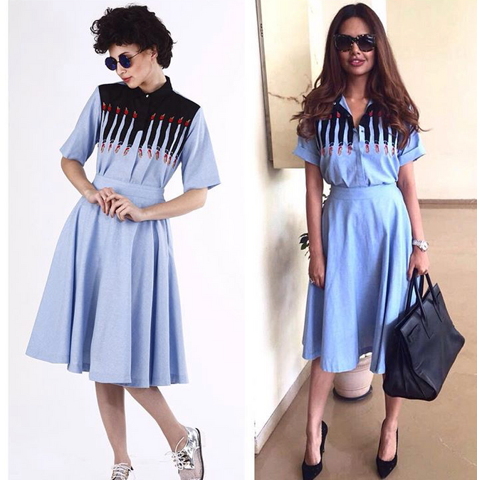 Actress Esha Gupta Taking Warm Weather Dressing Up A Notch In Our Hand Embroidered 'His And Her