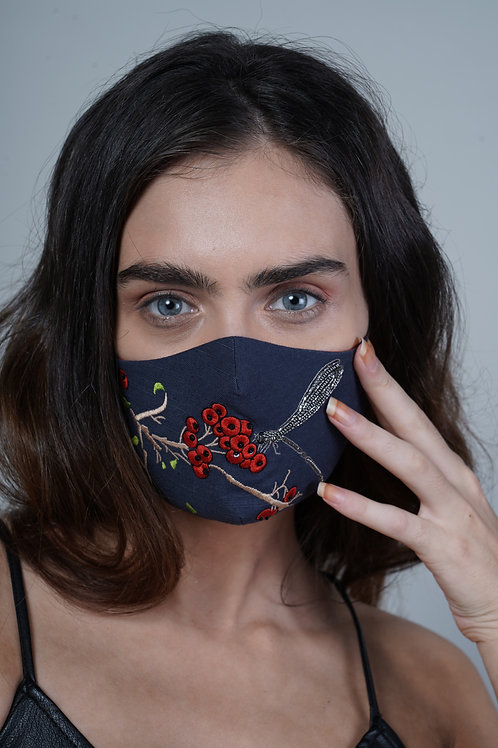 BERRIES AND DRAGONFLY MASK - SMK026/W