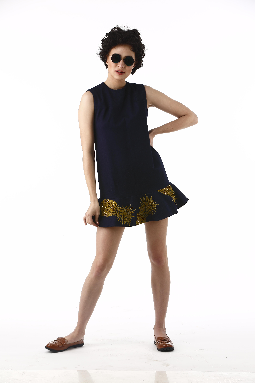 Pineapple Frill Mini Dress
